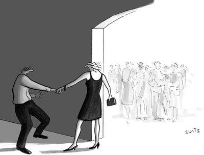 """No! Not social reëntry!"" ~ Cartoon https://www.newyorker.com/cartoon/a24198 by Julia Suits"