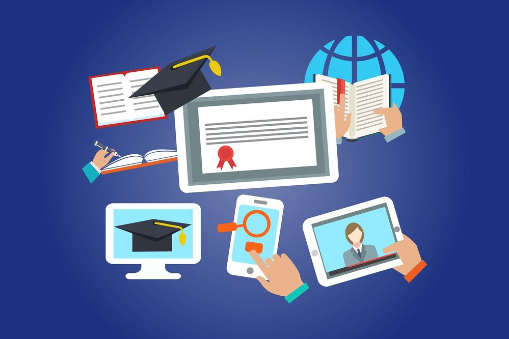 Image showing virtual education through technology and devices